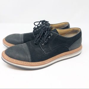 UGG MENS WARNER CAP TOE BLACK SUEDE OXFORDS